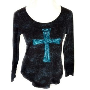 Rock & Republic Long Sleeve Studded Cross Top